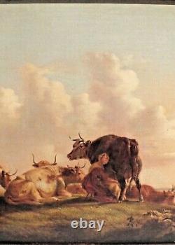 Hst huile vaches prairie 19ème peinture tableau
