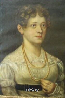 Huile S/toile Empire Portrait De Femme En Robe De Dentelle