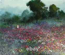 Huile Sur Toile. Femme Cueillant Fleurs. Vidaller Attribué, Juan F. Espagne. Sie. XX