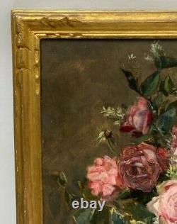 Huile Sur Toile Nature Morte Fin XIX Eme Bouquet De Fleurs Cadre Dore H3191