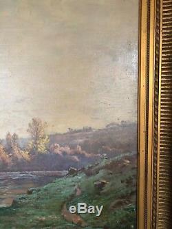 Huile Sur Toile Paysage Riviere Auguste Louis Denis Penguern Cadre Dore C1336