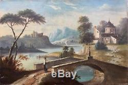 Huile Sur Toile Paysage Vers 1800 XVIIIe / XIXe