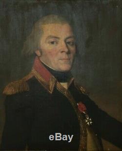 Huile Sur Toile Portrait Jeune Officier Empire Legion D Honneur Cadre Dore H869