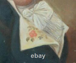 Huile Sur Toile Portrait XVIII Eme Gentilhomme En Costume Epoque H399