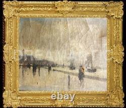 Huile Sur Toile Postimpressionniste 1886 Les Quais De Southampton Le Havre Signé