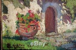 Huile Sur Toile-a. M. Moreau-post Impressionniste-paysage-demeure-tachiste-1928