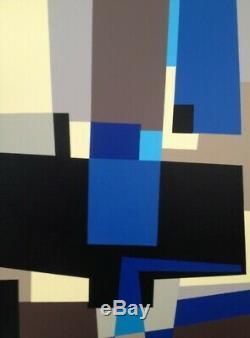 Huile Sur Toile (xx°) Superbe Peinture Abstraction Geometrique (15)