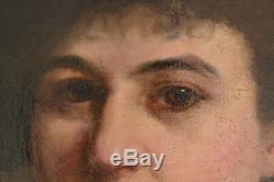 Huile Tableau 1885 Portrait Femme Eventail Chapeau ALSACE Signé 100 x 72 cms