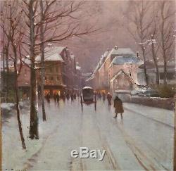 Huile-peinture-toile-gaston Corbier-saintes-paysage De Neige-charentes