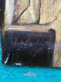 Huile sur Toile Jeune Femme A identifier Antique French Painting Signée Breton