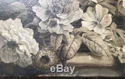 Huile sur Toile XIXème Nature Morte Fleurs Grisaille Anonyme