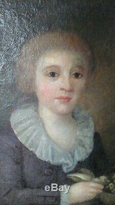 Huile sur toile 1785 enfant noble aux oiseaux goût Louis XVII école XVIIIème