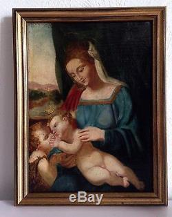 Huile sur toile 18 ème vierge enfant Jésus et Jean Baptiste
