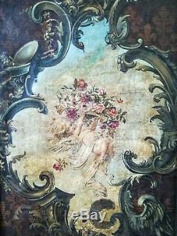 Huile sur toile 18 ou 19ème projet d'ornement de plafond