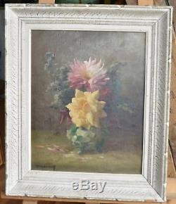 Huile sur toile Bouquet de fleurs signé C. Videau(pseudo d'H. Delpech)XIX-XXème