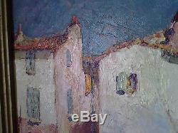 Huile sur toile CHARLES MALFROY paysage port MARTIGUES oil on canvas tableau
