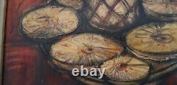 Huile sur toile Franz Priking Nature morte à l'ananas tranché 15 Figure