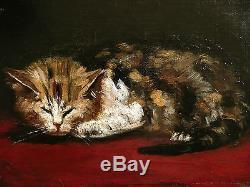 Huile sur toile, Impressionniste, Le chat, Fin 19 ème. Tableau ancien