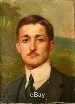 Huile sur toile, Impressionniste, Portrait, G. P MASURE vers 1910. Tableau ancien