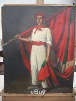Huile sur toile/ PAYS BASQUE/porte drapeau/drapeau BASQUE