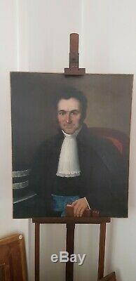 Huile sur toile PORTRAIT D'ANCETRE MAGISTRAT, NOTABLE, XIXe restauré & rentoilé