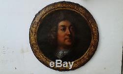 Huile sur toile Portrait de gentilhomme couronné de laurier XVIIIeme siècle