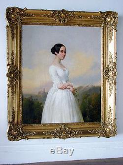 Huile sur toile Portrait jeune fille Signé Jules Gardel XIXème Circa 1830