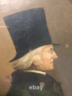 Huile sur toile Portrait profil homme gentleman lunettes à tempes XVIII-XIX