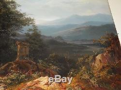 Huile sur toile Une vue de Subiaco, Edouard de Vigne 1808-1866