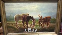 Huile sur toile XIXe chevaux et bovins