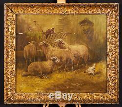 Huile sur toile XIXe signée Schoyen Animaux, bergerie