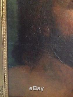 Huile sur toile, XVII, XVIII eme marouflée, portrait homme, encadrement