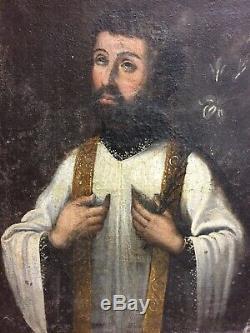 Huile sur toile XVII-XVIIIème portrait personnage religieux