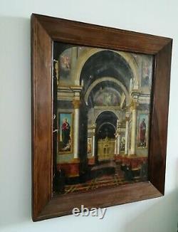 Huile sur toile ancienne Eglise italienne 82,5 x 69,5cm environ