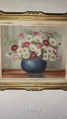 Huile sur toile ancienne peinture tableau Signé nature morte