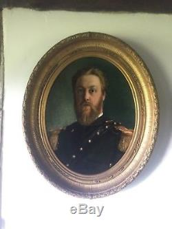 Huile sur toile cadre ancien portrait militaire XIX HST 87 cm 72 cm