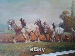 Huile sur toile d'Eugène Péchaubès 1890 1967 le labour encadré et signé