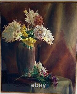 Huile sur toile début XXe, Sublime bouquet de fleurs signé signé K. ITIER