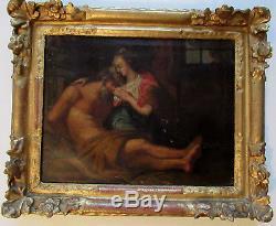 Huile sur toile- école italienne XVIII la charité romaine érotique nu