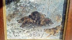 Huile sur toile emile gridel chasse venerie authentique sangliers