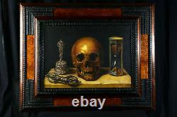 Huile sur toile encadrée Nature Morte Vanité, Memento Mori, Vajra Dorje