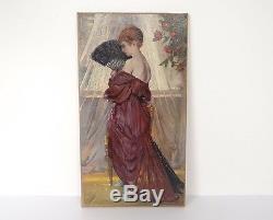 Huile sur toile femme à l'éventail Henri Moreau 1917