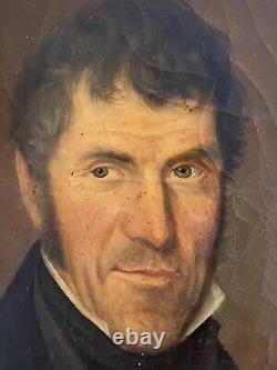 Huile sur toile grand Portrait Homme Début XIXe signé 1840