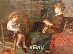 Huile sur toile, impressionniste, Scène de genre, Signé, fin 19ème Tableau ancie