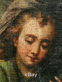 Huile sur toile, l'adoration, École Italienne, XVII ème. Tableau ancien