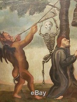 Huile sur toile l enfer squelette 18 eme