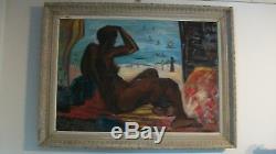 Huile sur toile nu africaniste signé Malké pour Roger-Bernard circa 1950