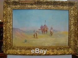 Huile sur toile orientaliste passage d'une caravane dans le désert