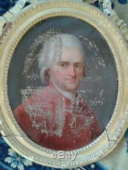 Huile sur toile ovale PORTRAIT DE GENTILHOMME XVIIIème, Aristocrate, à restaurer