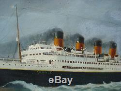 Huile sur toile, paquebot en mer signé E. Hieblot